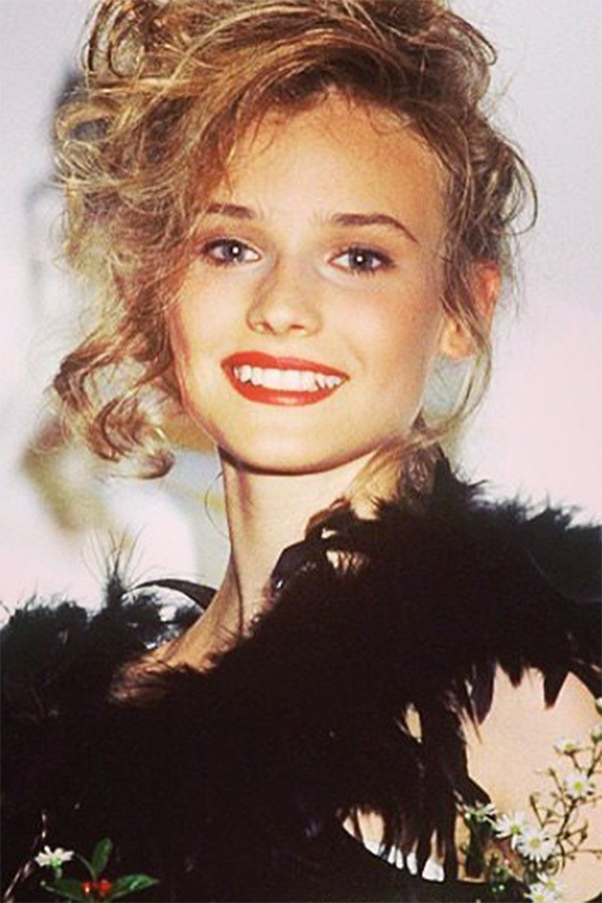 """Diana Kruger shared her early modelling game. She captioned the photo: 'This is me at 15, winning the """"Look of the Year modeling award in Germany""""...HOW you might ask ? I really don't know,' she wrote. 'Maybe that year baby face with too much make up and crooked teeth was in style? Maybe they were playing a cruel joke on me ?? 'Whoever picked me...thanks for the Vespa I won and the life that opened up to me !!!! All you awkward looking girls out there !!!! SOMEONE thinks you're pretty !!!' Image via Instagram/@dianekrugerperso"""