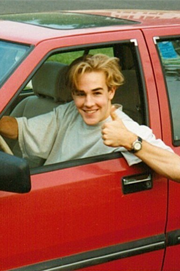 """YES to everything this photo shared by James Van Der Beek is telling us. He captioned it: """"#ThrowbackThursday First car. I had no business being this proud of this car. Or this haircut."""" image: Instagram/@vanderjames"""