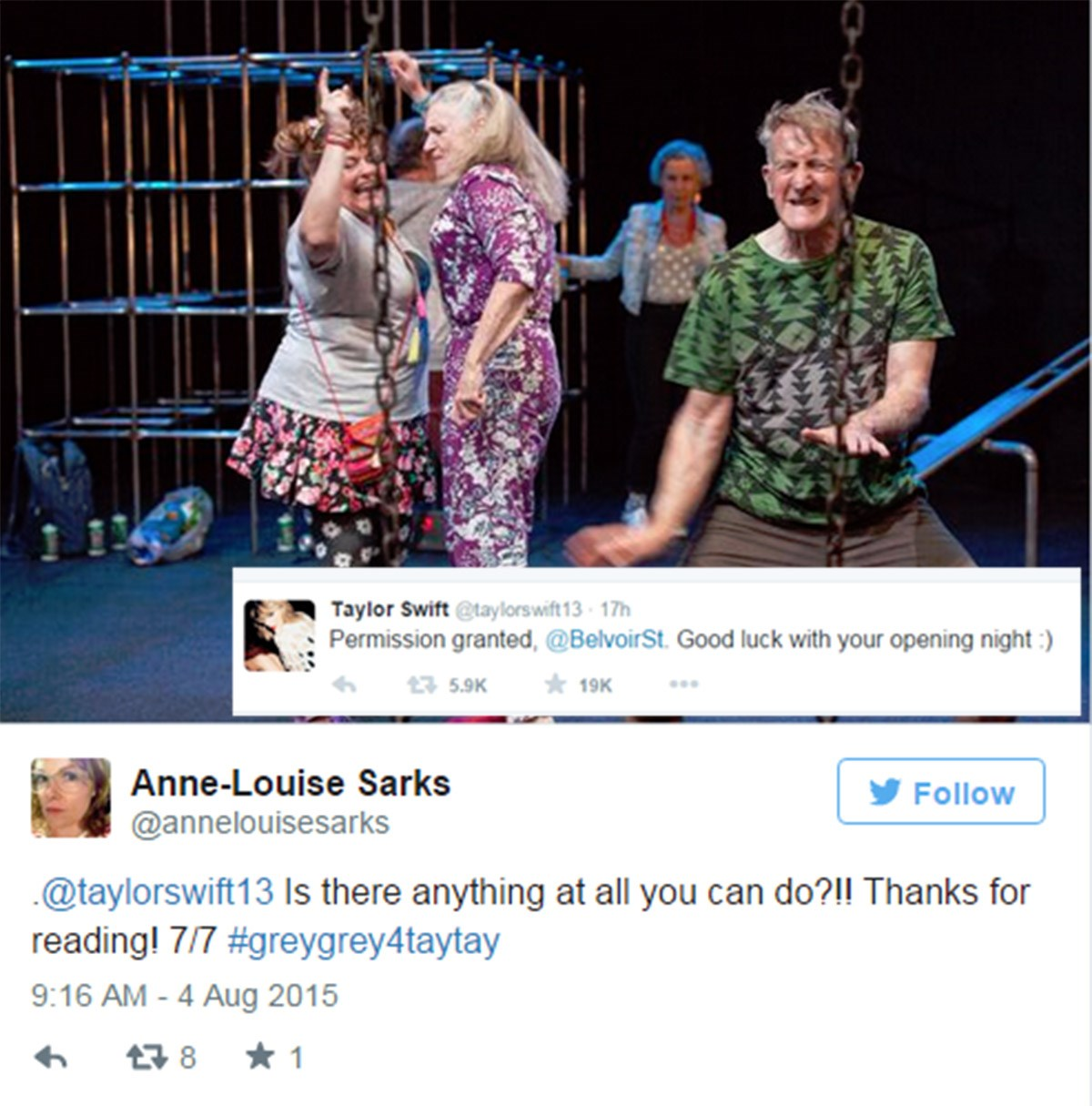 This is the cutest #Swiftmas story we've heard in ages. As reported on Buzzfeed, Sydney theatre director Anne-Louise Sarks discovered at the last minute that she couldn't use Taylor Swift's Shake it Off in a crucial scene in her play Seventeen (about the last day of school with the characters played by the over 70 set). So she social media campaign #greygrey4taytay AND IT WORKED. Taylor Swift responded and saved the day.  Image via Twitter.@annelouisesarks