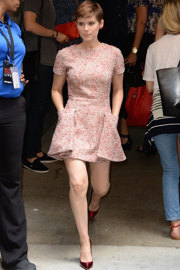 Those ruby red shoes have a touch of Dorothy to them, no?  And that flippy little tweed dress is the right balance of casual and elegant.