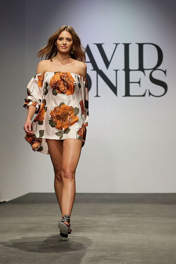 Jesinta Campbell showcases designs by Easton Pearson on the runway at the David Jones Spring/Summer 2015 Fashion Launch at David Jones Elizabeth Street Store on August 5, 2015 in Sydney, Australia.  (Photo by Mark Metcalfe/Getty Images for David Jones)