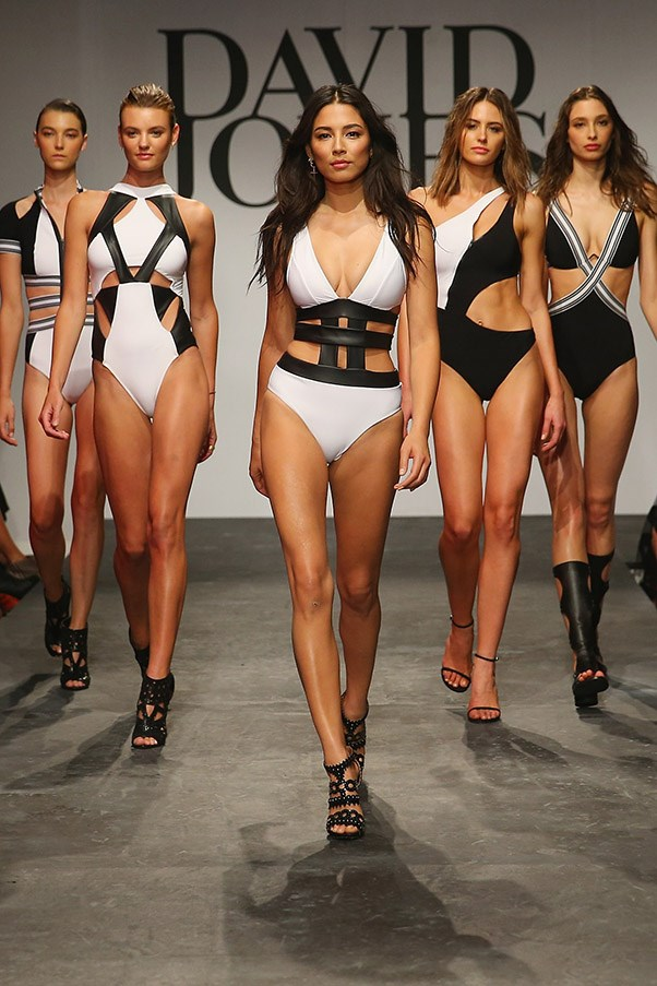 Jessica Gomes showcases designs by Jets on the runway at the David Jones Spring/Summer 2015 Fashion Launch on August 5, 2015 in Sydney, Australia.  (Photo by Don Arnold/WireImage)