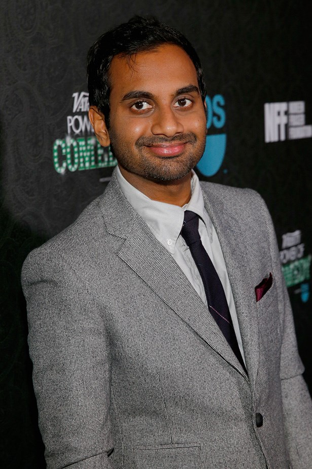Aziz Ansari, sensitive and funny, wears a pocket square. And yet, that beard! It's not just designer stubble, that beard tells a story. Of potential wildness.