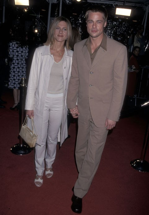FEBRUARY 23, 2001 Tan neutrals and pointy collars with Brad Pitt.