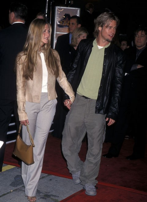 MARCH 14, 2000 Long hair and cargo pants with Brad Pitt.