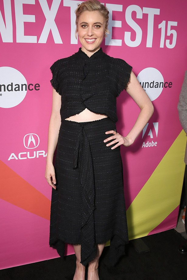 Gerta Gerwig wore this ensemble to the premiere of At the Mistress in LA, adding further proof that a crop top is an entirely adult clothing choice. Especially when done in shimmery tweed.