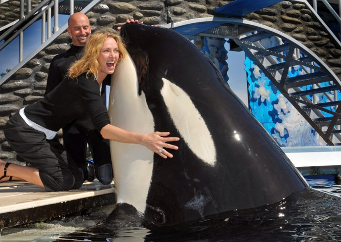UMA THURMAN Omg I would NEVER call you a killer whale! I ALWAYS say Orca. I cannot believe Halle would say that!""