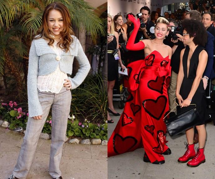 """MILEY CYRUS <em>Then</em>: At a <em>Hannah Montana </em><span class=""""redactor-invisible-space"""">Meet the Press event on January 10, 2006</span></p><p><em>Now:</em> At the<em> </em>2015 amfAR Inspiration Gala<em></em></p><div class=""""gallery-slide--credits""""> <span class=""""gallery-slide--image-provider""""> Getty </span></div></div>"""