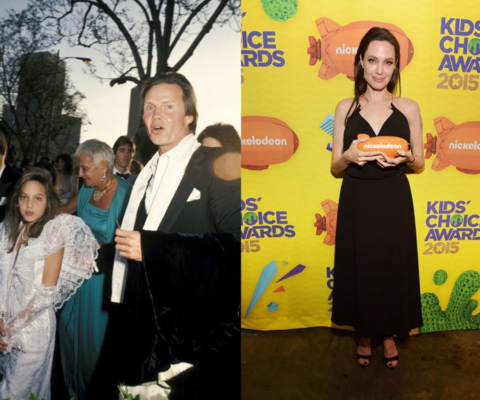 """ANGELINA JOLIE <em>Then: </em>At the 58th Academy Awards in 1986</p> <p><em>Now: </em><span class=""""redactor-invisible-space"""">At the 2015 Kid's Choice Awards</span></p>"""