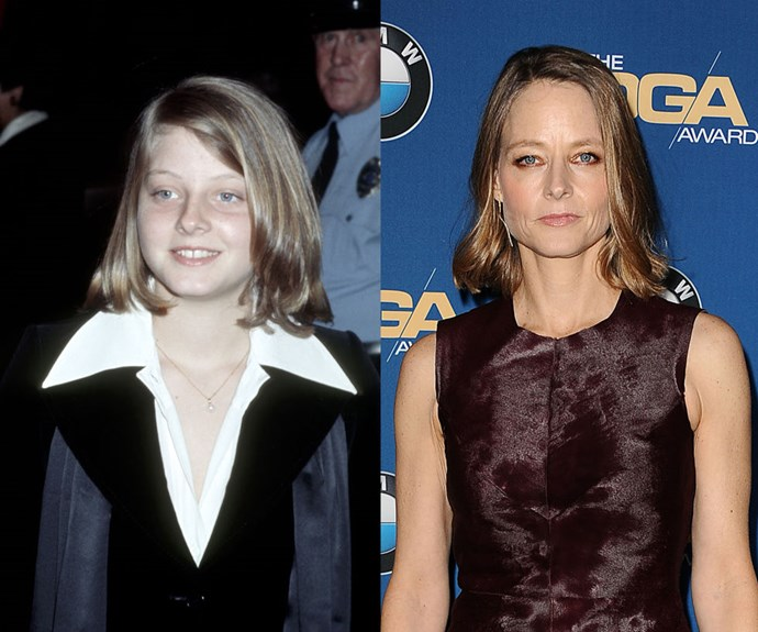 """JODIE FOSTER <em>Then:</em> At the 34th Annual Golden Globe Awards in 1977</p> <p><em>Now: </em><span class=""""redactor-invisible-space"""">At the 67th Annual Director's Guild Awards</span></p>"""