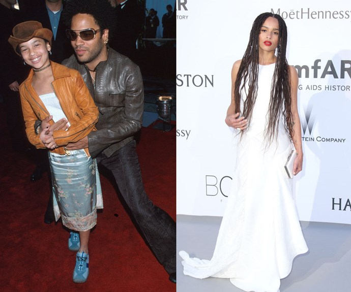 """ZOE KRAVITZ <em>Then: </em>The 42nd Annual Grammy Awards in 2002</p> <p><em>Now: </em><span class=""""redactor-invisible-space"""">At </span>amfAR's 22nd Cinema Against AIDS Gala</p>"""