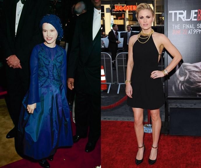 ANNA PAQUIN <em>Then: </em>At the Academy Awards in 2002</p><p><em>Now: </em>At the <em>True Blood</em> final season premiere</p></div>