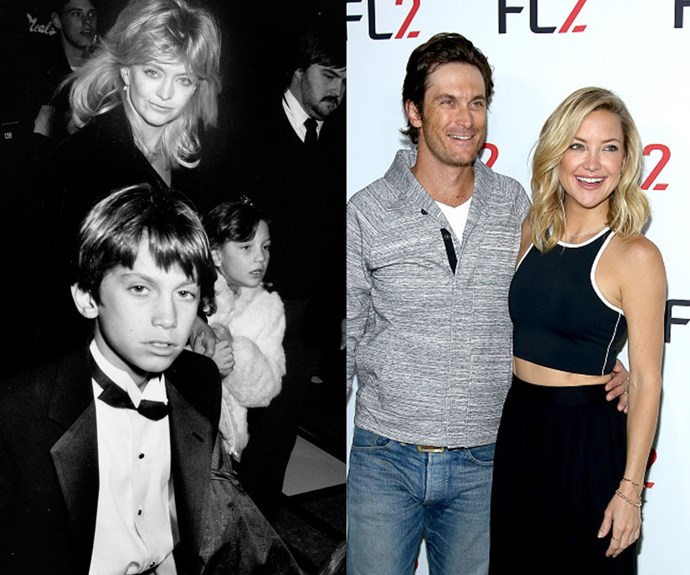 """OLIVER AND KATE HUDSON <em>Then: </em>With mom Goldie Hawn in 1989</p> <p><em>Now: </em><span class=""""redactor-invisible-space"""">At an event in New York</span></p>"""
