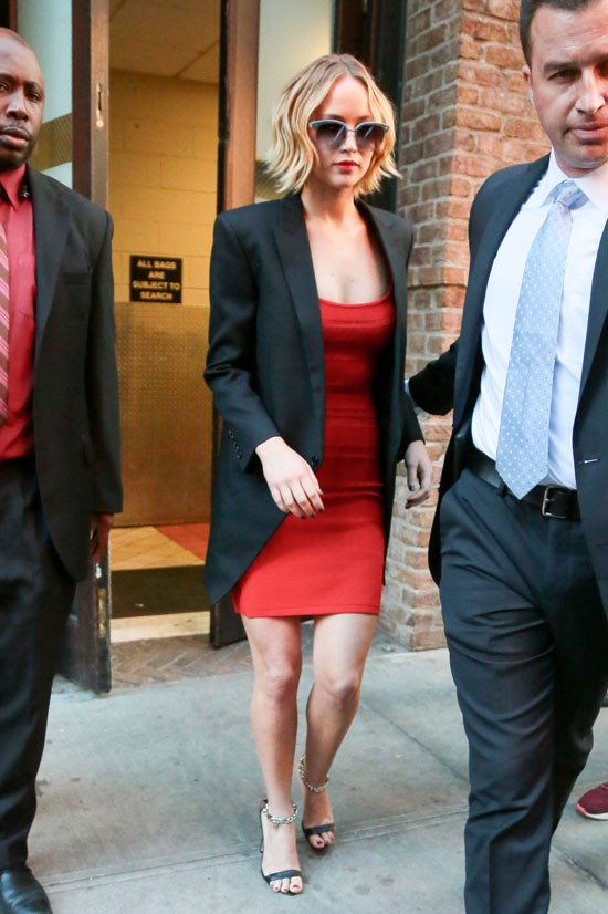 Jennifer Lawrence outside the 'Late Show with David Letterman', November 2014.