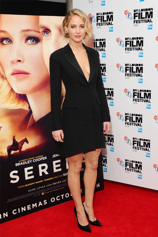 Jennifer Lawrence at the premiere of <em>Serena </em>in London, October 2014.