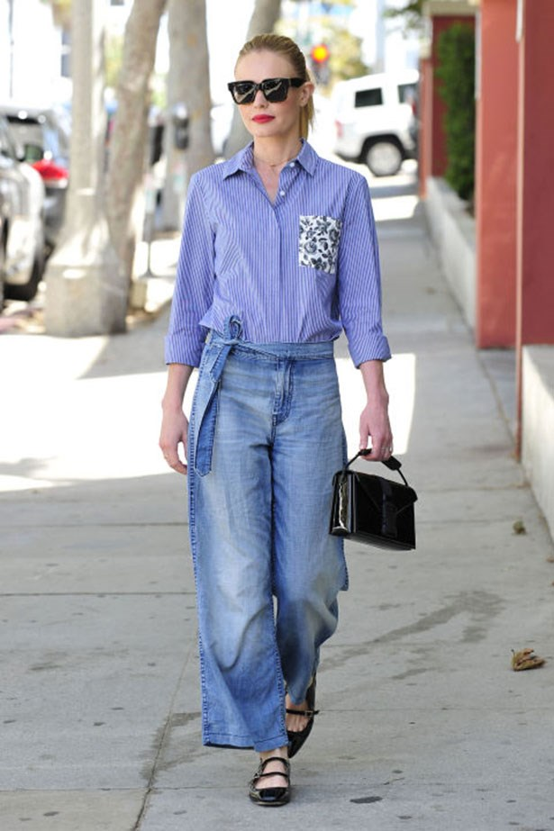 <p><strong>Who:</strong> Kate Bosworth</p> <p><strong>When:</strong> August 10, 2015</p> <p><strong>Why:</strong> Kate Bosworth's eclectic personal style is always surprising. She expertly paired ladylike accessories with slouchy denim trousers and an oxford button down from the much anticipated Thakoon for DesigNation at Kohl's collaboration (in stores starting September 10, 2015).</p>