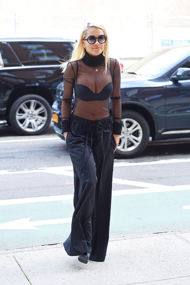 <p><strong>Who: </strong>Rita Ora</p> <p><strong>When:</strong> August 11, 2015</p> <p><strong>Why:</strong> Rita Ora is no stranger to wearing a bra in public, and we have yet to grow tired of it. Matching a sheer turtleneck by Vera Wang with wide-leg trousers and round sunnies, Ora and her cleavage looked amazing this week.</p>