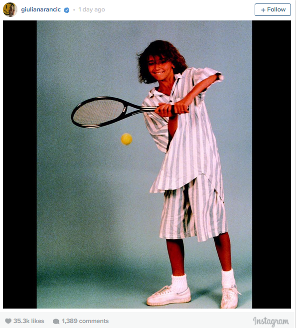 """Giuliana Rancic shared this frankly amazing throwback photo on her 41st  birthday of a deeply awkward modelling shoot. She captioned the pic: """"On my birthday, I would like to take a moment to share this embarrassing """"modeling"""" shot of me at 13 yrs old as a public service to young women everywhere. If this lanky, awkward, athletically challenged girl with the bad perm, bad skin, bad fashion sense and brace face had the confidence to think she could make her dreams come true, then by golly, so can you! Thank you for all the birthday wishes!!! I couldn't have wished for a better day today"""""""