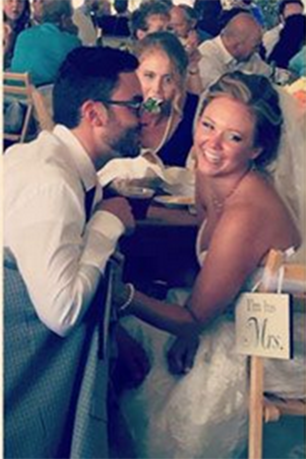 Woman Photobombs Bridal Couple While Eating Salad