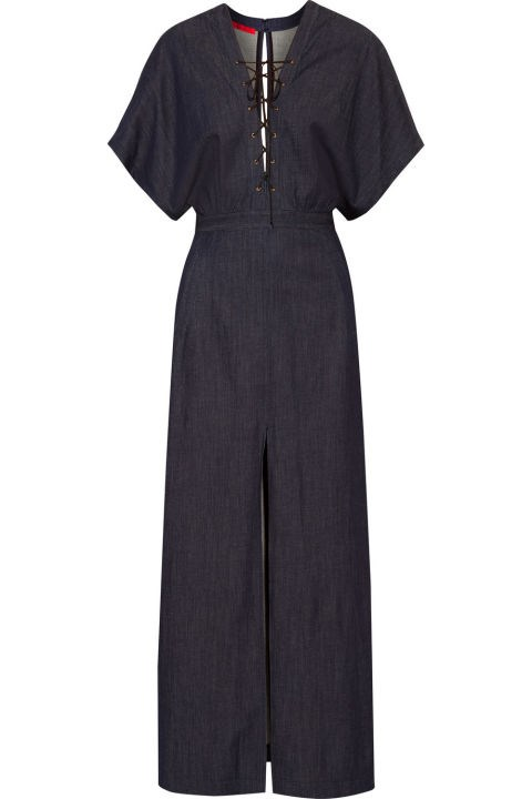 Tamara Mellon Lace-Up Stretch-Denim Maxi Dress, $895; net-a-porter.com