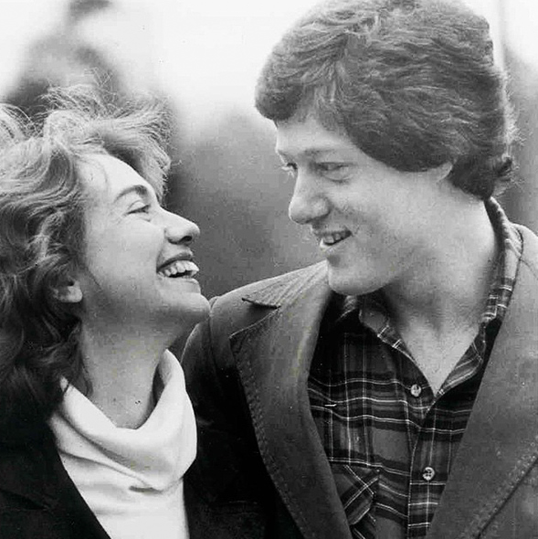 Hillary Clinton is hot on the campaign trail, but she took time out to share a pretty cute (circa 70s?? it looks pretty 70s judging by Bill's hair) snap for her husband Bill Clinton's 69th birthday on her Instagram account. Image via Instagram/@hillaryclinton