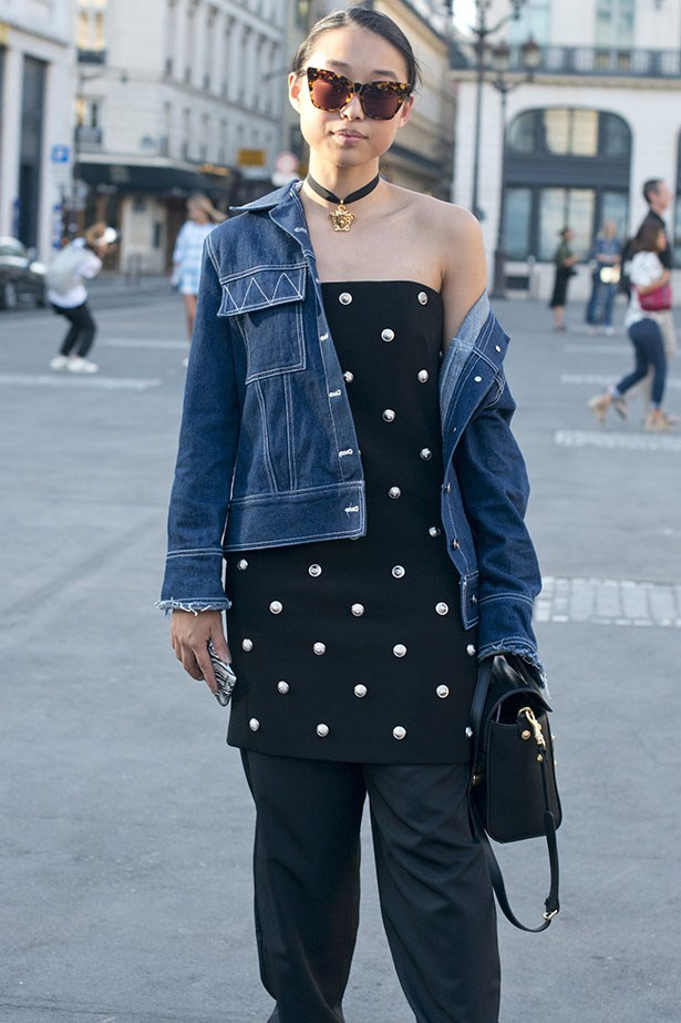 Margaret Zhang is a master of the look, keeping it casual here with a denim jacket.