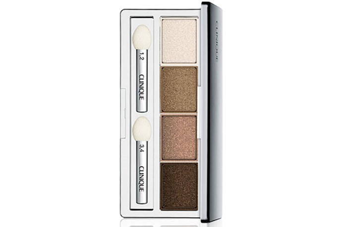 """<strong>Best for... Everyday Eyes</strong> <br> <br> A winning mix of neutral, universally flattering shades that boast a part-shimmer, part-matte finish. Wear one on it's own in the AM, then build and blend them together once the clock strikes 5pm. <br> <br> <a href=""""http://www.clinique.com.au/product/1598/27033/Makeup/Eye-Shadows/All-About-Shadow-Quads""""><em>All About Shadow Quad in Teddy Bear, Clinique</em></a>"""