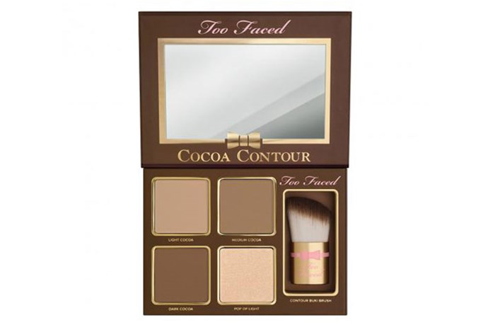 """<strong>Best for...contouring</strong> <br> <br> Easy shades for creating chiseled Kardashian-esque cheekbones in a cinch. <br> <br> <a href=""""http://mecca.com.au/too-faced/cocoa-contour-kit/I-021595.html#q=contouring&start=1""""><em>Cocoa Contour Kit, Too Faced </em></a>"""