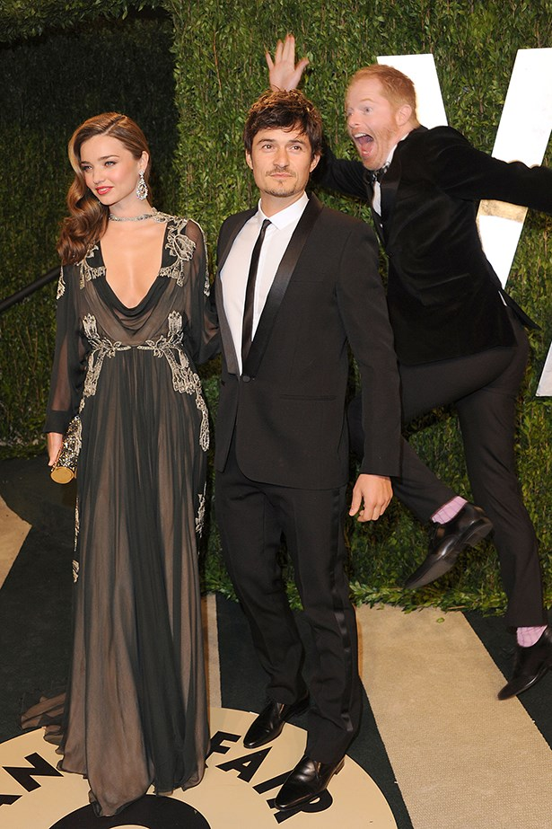 This photo of Modern Family's Jesse  Tyler Ferguson heroically photobombing Miranda Kerr and Orlando Bloom is pretty much a day-maker (minus the whole Kerr-Bloom split and all).