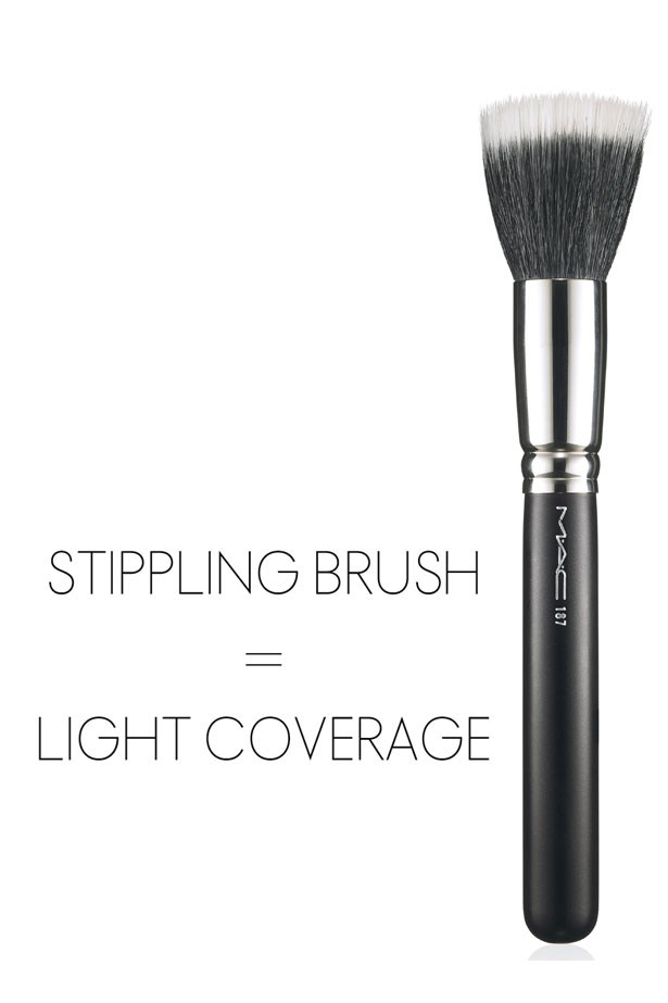 "<strong>Stippling Brush</strong> <br> <br> <em>Best for: Light, even coverage</em> <br> <br> Great for both powder and liquid foundations, as well as blush and bronzer, stippling brushes have two types of bristles; The longer, feathery fibers are usually a lighter colour than the stronger bristles at the base, which are generally black. 'Stippling' mean dotting, and that's just what these brushes do, they dot foundation gradually into the skin for a super smooth finish. Take your time using small, circular motions and be sure not to push too hard when using a stippling brush otherwise you defeat it's purpose. <br> <br> <a href=""http://www.maccosmetics.com.au/product/146/772/Products/Brushes/Face/187-Duo-Fibre-Brush/index.tmpl""><em>Try: Duo Fibre Brush, MAC</em></a>"