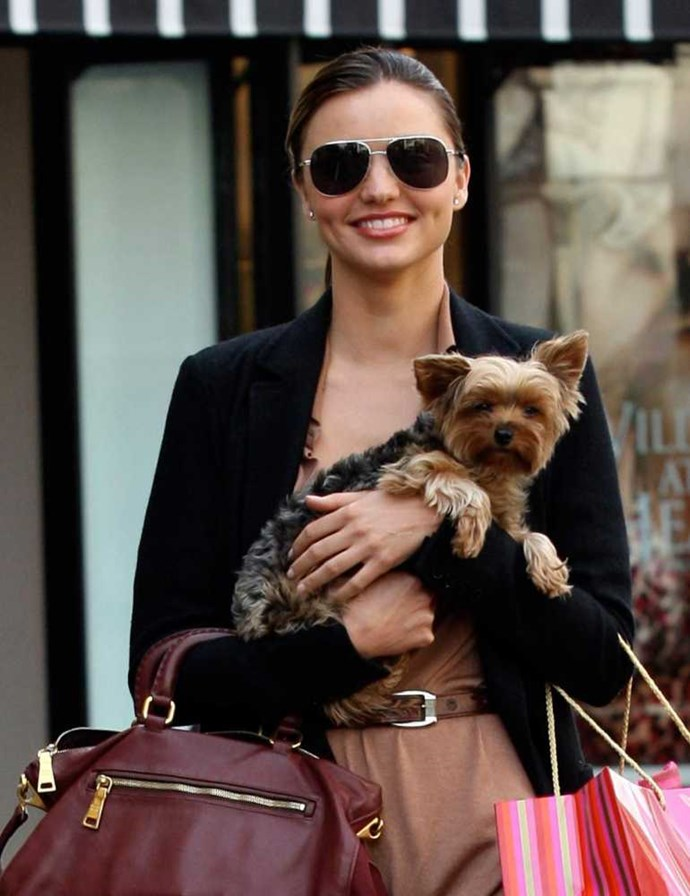 Miranda Kerr and her dog Frankie.