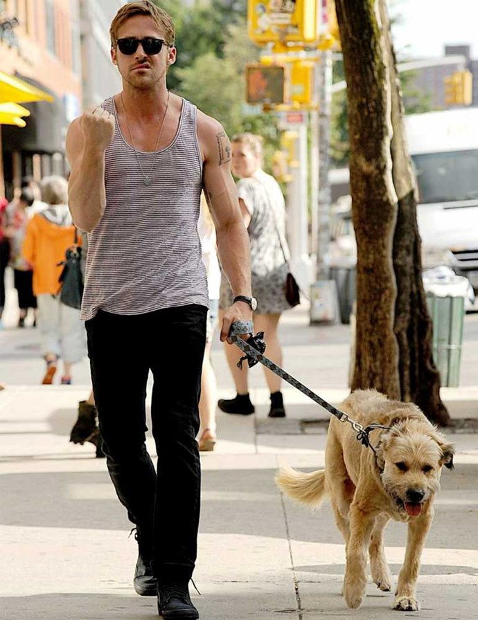 Ryan Gosling walking his dog George.