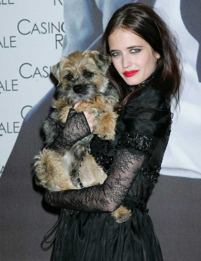 Eva Green and her Border Terrier Griffin.