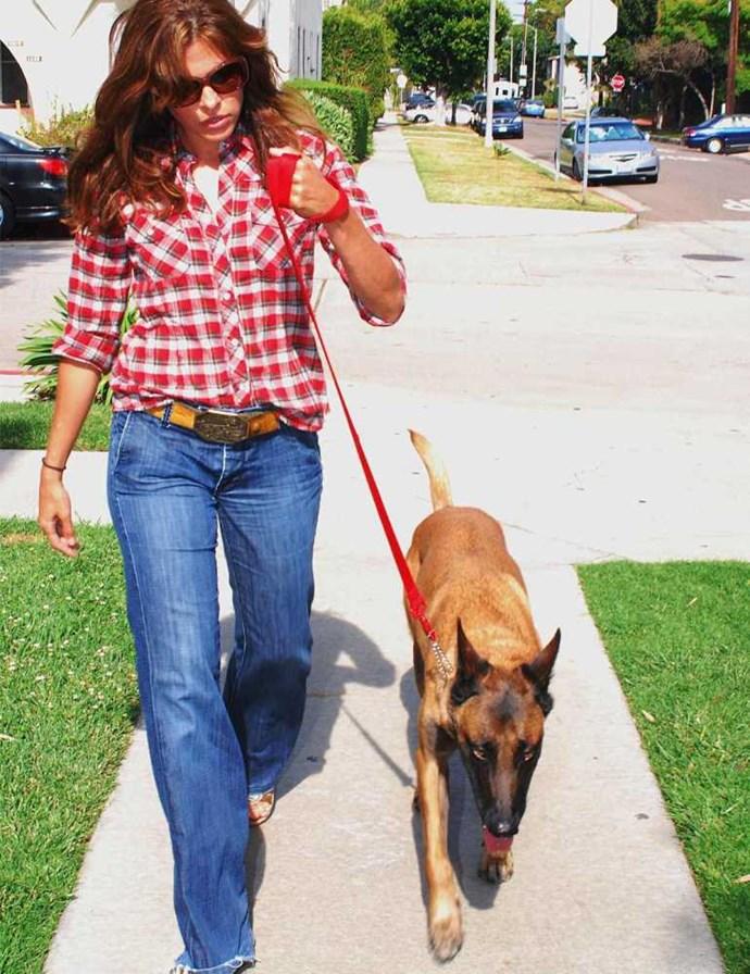 Eva Mendes walks her dog Hugo.
