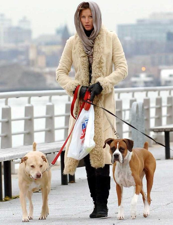 Gisele walks her dogs.