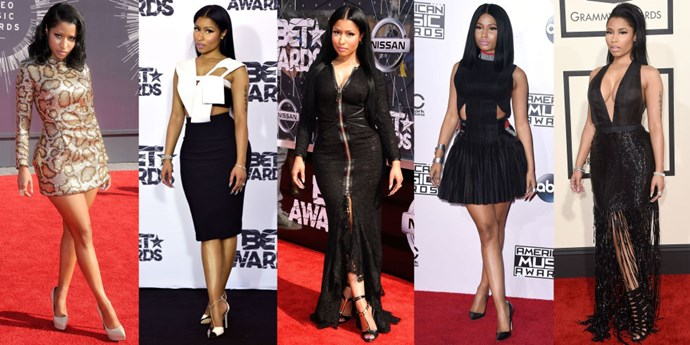 <strong>NICKI MINAJ</strong> <BR> Master The Nicki by crossing your right leg over your left, and letting your hands hang by your sides with shoulders back for maximum curve appreciation.