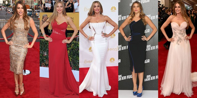 <strong>SOFIA VERGARA</strong> <BR> The Sofia is an advanced #skinnyarm pose. Place hands on hips to create two body-framing right angles. Anchor your feet together with one knee slightly bent for an exaggerated hourglass silhouette.