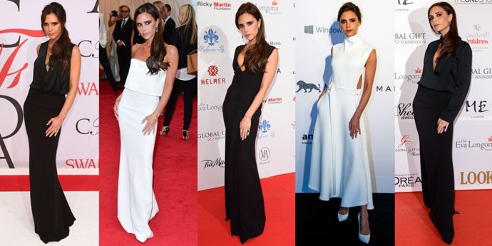 <strong>VICTORIA BECKHAM</strong> <BR> Mrs. Beckham contorts her body into one clean line by placing her left foot in front of her right with her left hand draped on top, like an arrow that points to her feet, all the while leaning back ever so slightly.