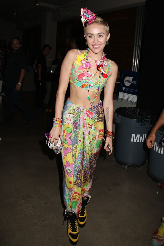 Miley Cyrus at the Jeremy Scott fashion show during MADE Fashion Week Spring 2015, September 2014.