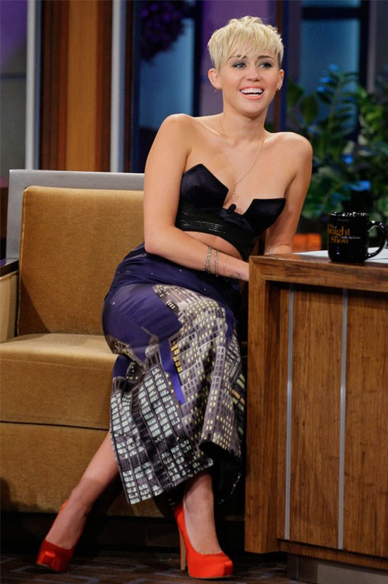 Miley Cyrus on <em>The Tonight Show with Jay Leno</em>, October 2012.
