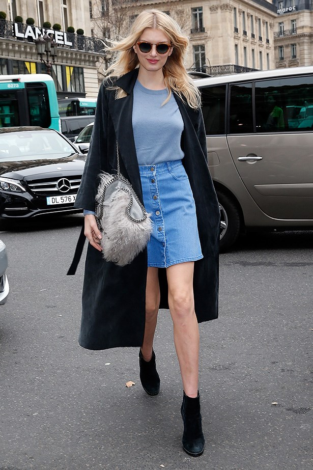 Lily Donaldson adds an edge with ankle boots for a coolly casual look.