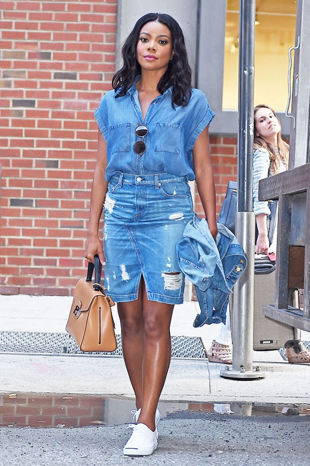 Gabrielle Union shows us that double denim is totally doable. Maybe the best thing about denim skirts is that they work just as well with sneakers as they do with cute flats and heels.