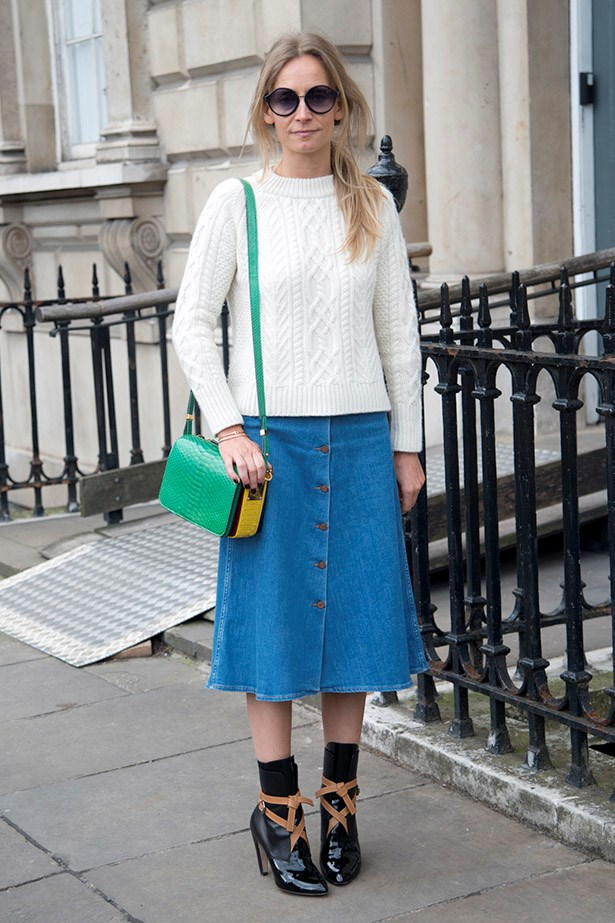 Martha Ward is a denim skirt afficionado, this midi is super-sweet, esp when paired with socks.
