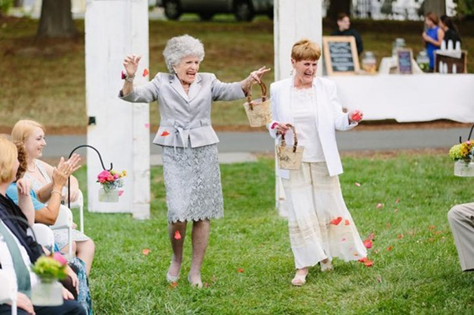 Couple Has Their Grandmas As Flower Ladies For Wedding