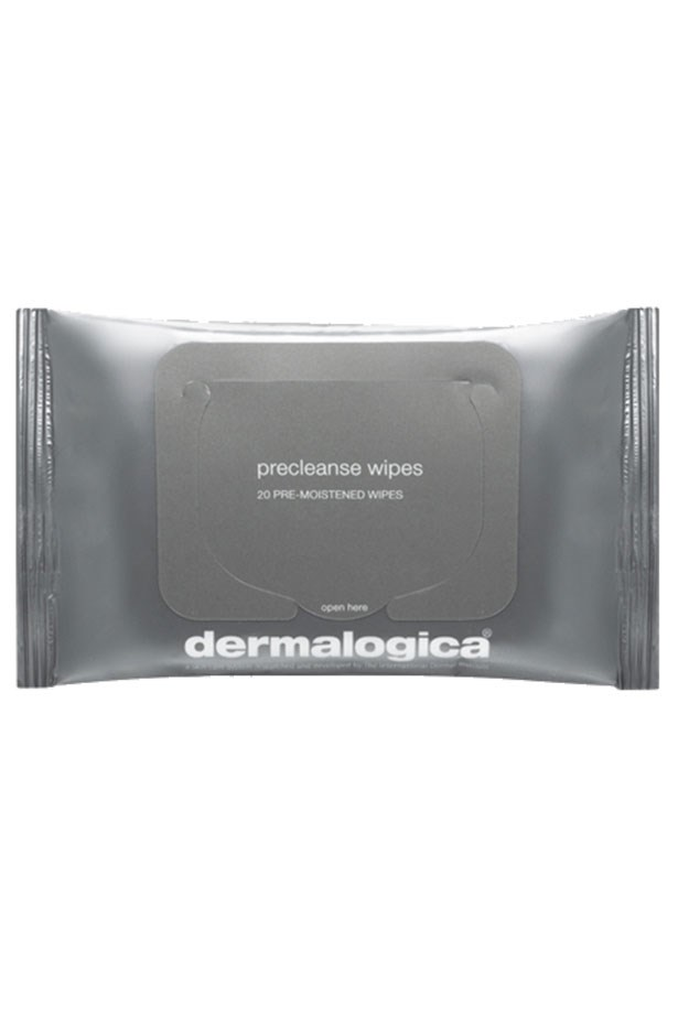 """<strong>Pre-cleanse</strong> <br> <br> Demalogica's cult pre-cleansing oil in handy towelette form. These disintegrate surface makeup and sunscreen so your second cleanse can go deeper and deal with pore-clogging culprits like sebum, grime and pollution. <br> <br> <em><a href=""""http://shop.davidjones.com.au/djs/ProductDisplay?catalogId=10051&productId=3305517&langId=-1&storeId=10051&cm_mmc=googlesem-_-PLA-_-Health+and+Beauty+-+Personal+Care+-+Cosmetics+-+Skin+Care-_-Dermalogica+Precleanse+Wipes&CAWELAID=620017140001102644&CAGPSPN=pla&gclid=Cj0KEQjw04qvBRC6vfKG2Pi0_8gBEiQAAJq0vb479YqX6hkqov11xAY0_jTkkCyFuczotqwoWArJiwgaAt6H8P8HAQ&gclsrc=aw.ds"""">Precleanse Wipes, Dermalogica</a> </em>"""