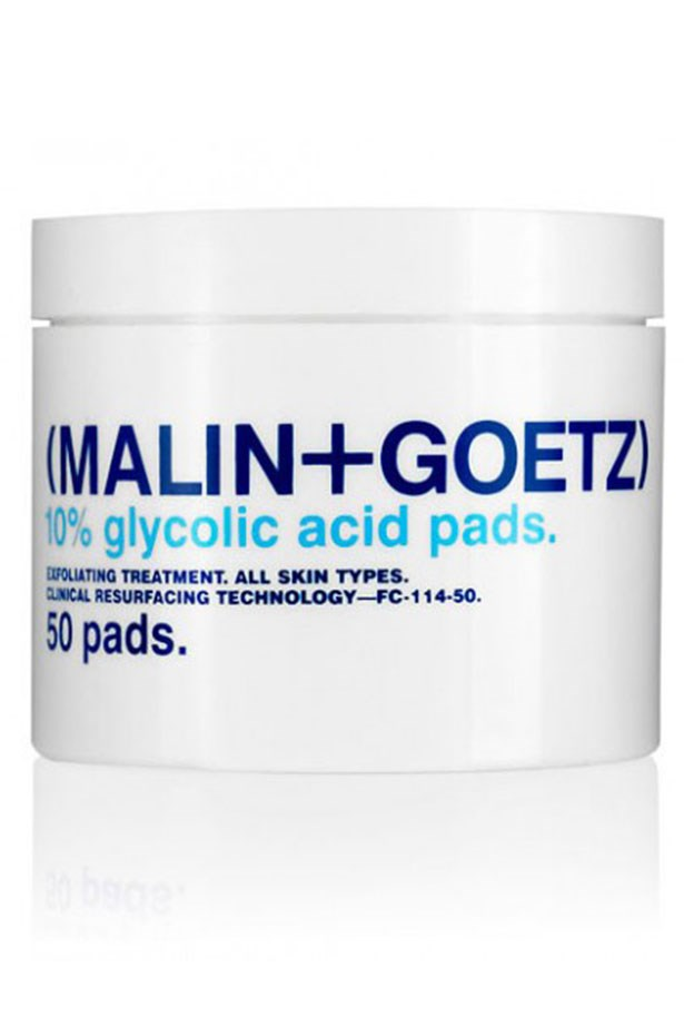 """<strong>Mini-peel for sensitive types</strong> <br> <br> A baby peel in each glycolic acid-soaked pads, unclogging pores and refining texture gradually with each wipe. They work as well on acne-prone types as they do on aging skin, creating a clean slate for your next skincare steps. <br> <br> <a href=""""http://mecca.com.au/malin-goetz/glycolic-acid-face-pads/I-015202.html""""><em>Glycholic Acid Wipes, Malin + Goetz</em></a>"""