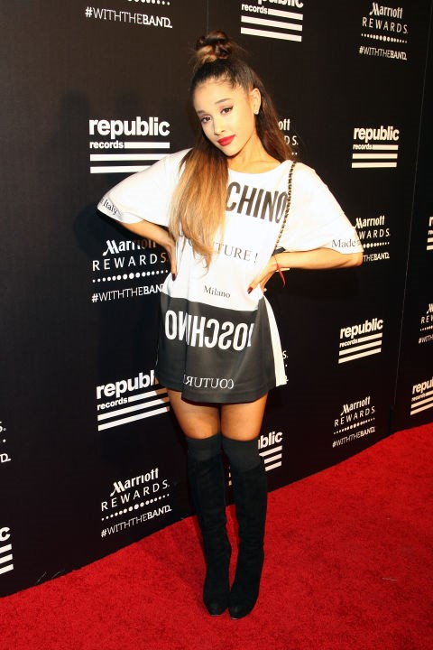ARIANA GRANDE In Moschino at the Republic Records 2015 VMA after party at Ysabel restaurant. GETTY