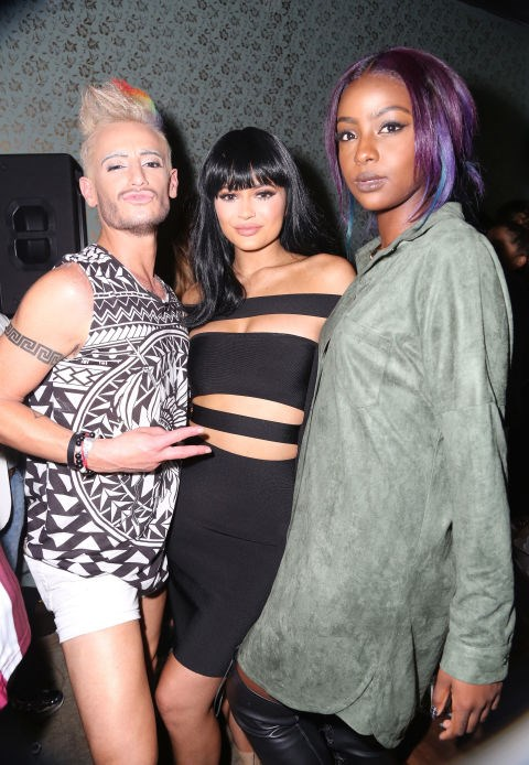 FRANKIE J. GRANDE, KYLIE JENNER, AND JUSTINE SKYE At the Republic Records 2015 VMA after party at Ysabel restaurant. GETTY