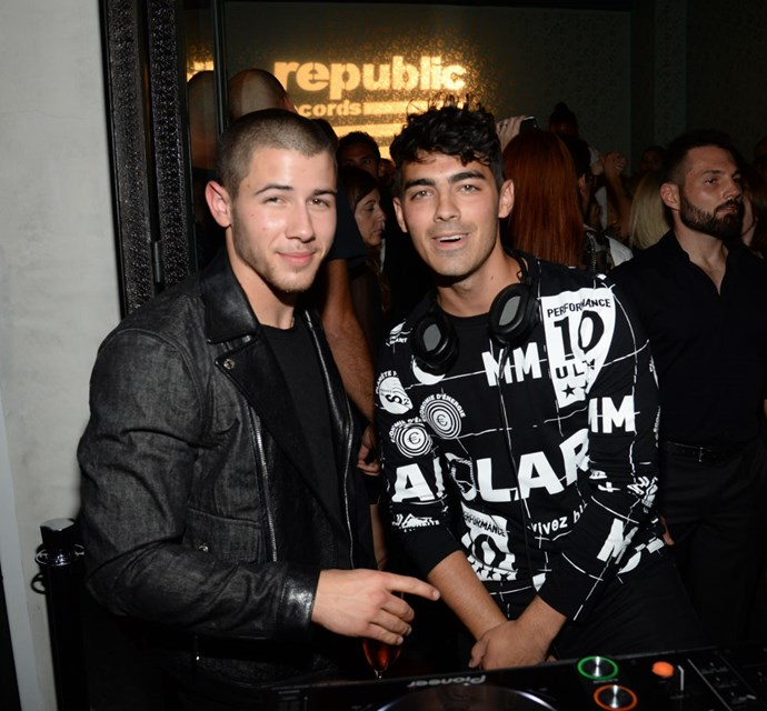 NICK JONAS AND JOE JONAS At the Republic Records 2015 VMA after party at Ysabel restaurant. GETTY