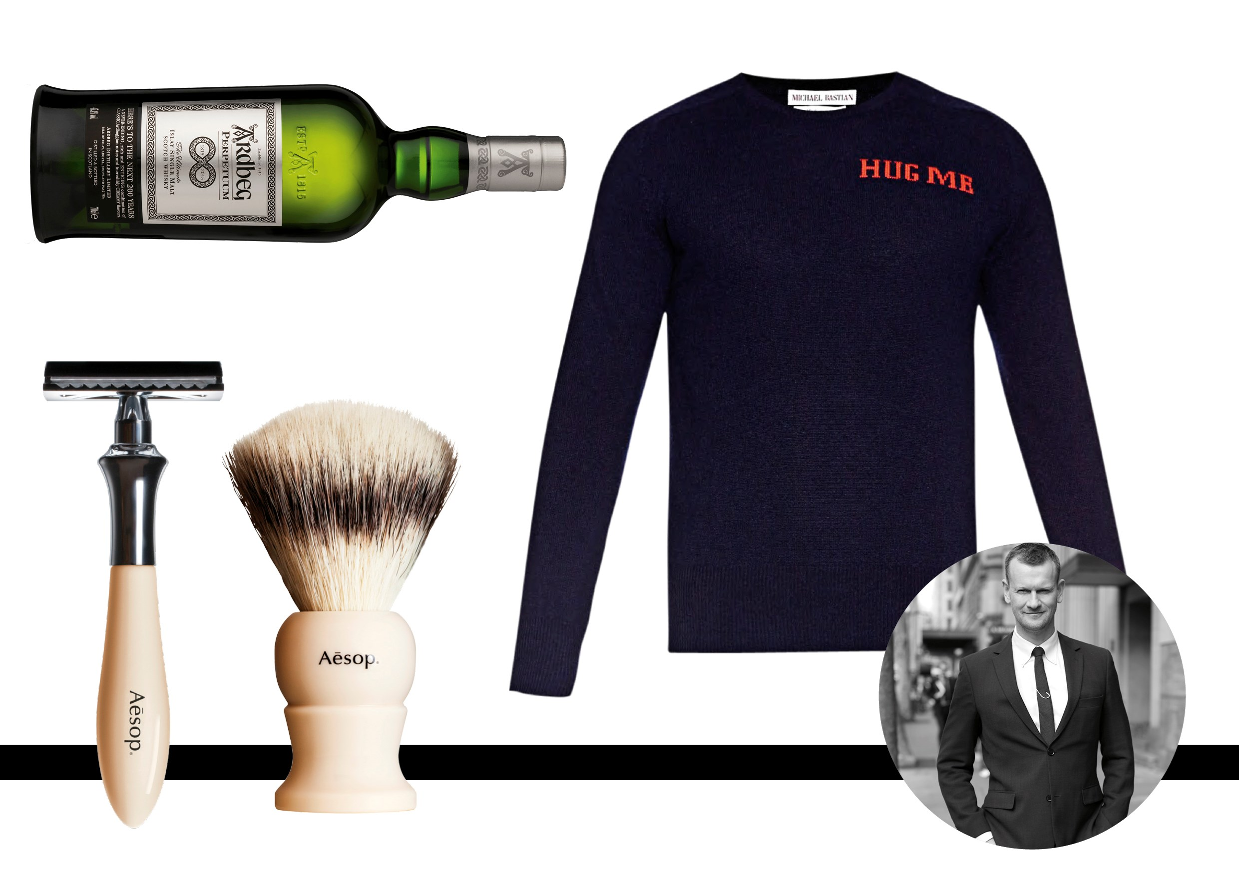 """Damien Woolnough, deputy editor<br> Silver fox designer Michael Bastian knows that every daddy deserves a hug. Hug Me cashmere knit by Michael Bastian, $800 Matchesfashion.com.<br><br> <a href=""""http://www.matchesfashion.com/au/products/Michael-Bastian-Hug-Me-cashmere-knit-sweater--1015153"""">matchesfashion.com</a><br><br> Let hipster dads know that we've reached peak beard with the help of the thoughtful types at Aesop. $105.00   <a href=""""http://www.aesop.com"""">Aesop</a><br><br> Expect this one to need replacing by Christmas. Ardbeg is the gift you can keep giving. This limited edition celebrates the distillery's 200th anniversary. Ardberg whiskey, $169.00,  <a href=""""http://www.moet-hennessy-collection.com.au"""">Moet Hennessy</a>"""